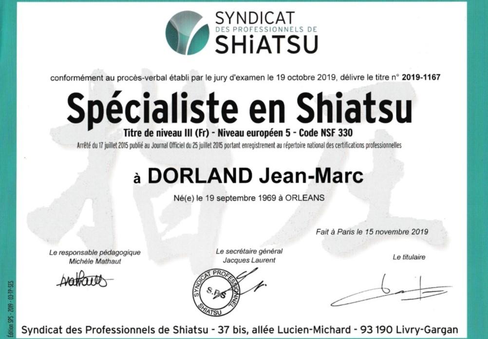 titre professionnel de spécialiste en Shiatsu de Jean-Marc DORLAND