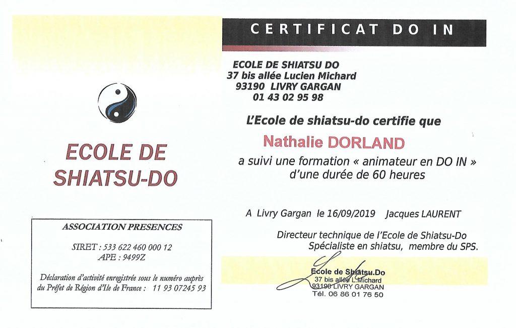 certificat de Do in Nathalie DORLAND