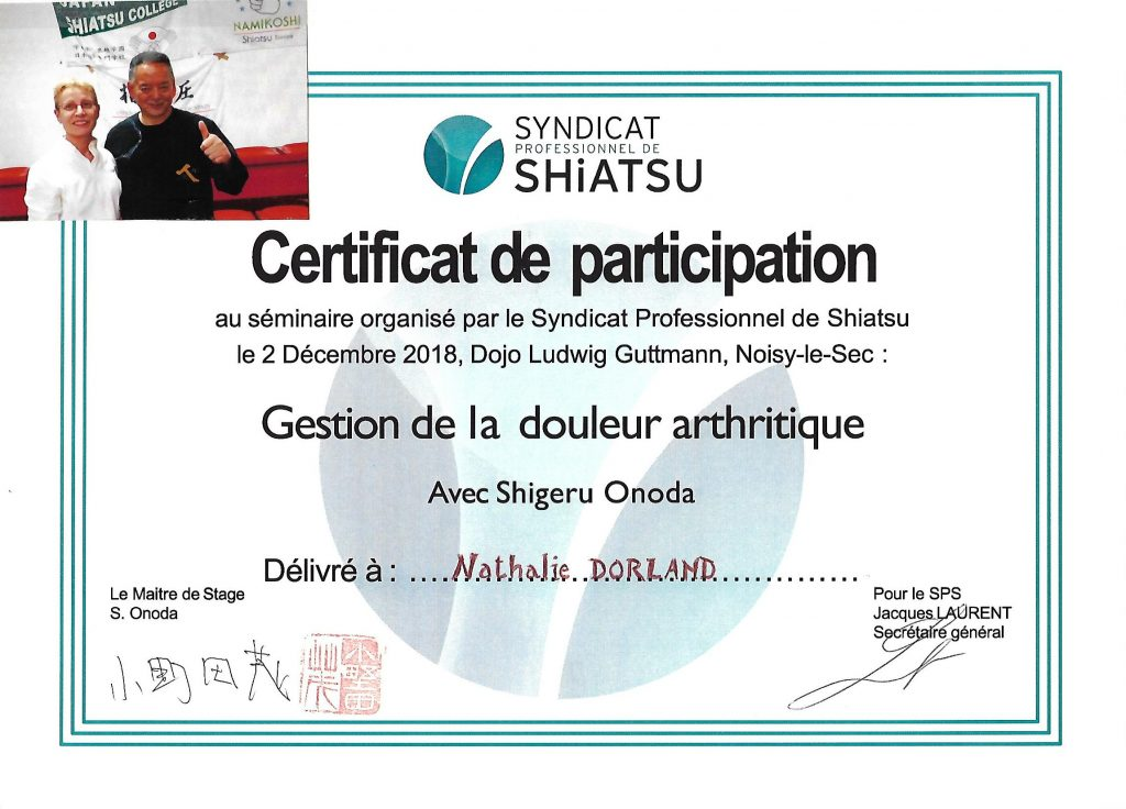 Stage gestion douleur arthritique avec Shigeru Onoda