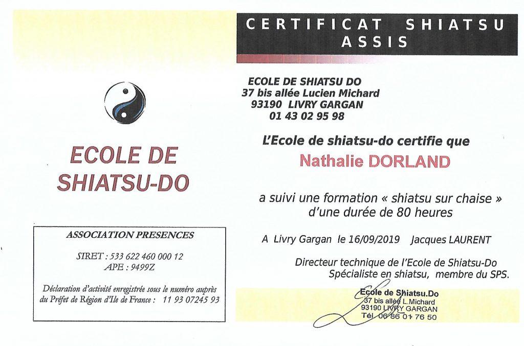 Certificat de Shiatsu assis Nathalie DORLAND